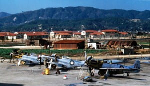 F-51Ds 7 Sqn RAAF in maintenance at Iwakuni Airfield, June 1950