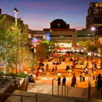 Plaza at night by mall
