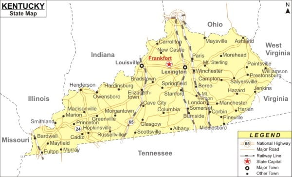 State map of Kentucky